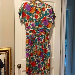 Vintage Maggie London floral silk dress